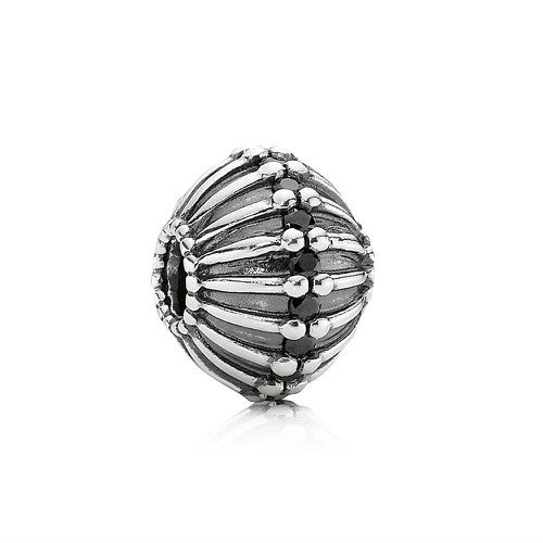 2018 Pandora Abstract XL Silver Charm With Black Cubic Zirconia 790870CZK