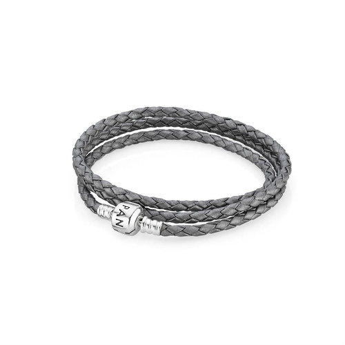 2018 Pandora Grey Triple Woven Leather Bracelet 590705CSG