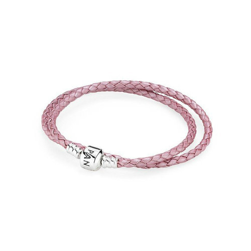 2018 Pnow and again ora Pink Double Woven Leather Bracelet 590705CMP