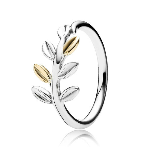 2018 Pandora Silver & Gold Leaves Ring 190920